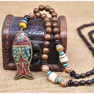 Handmade Nepal Necklace Buddhist Mala Wood Beads